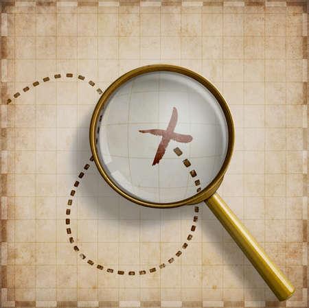 lupa: Lupa con marcada ubicación en el mapa de edad Foto de archivo