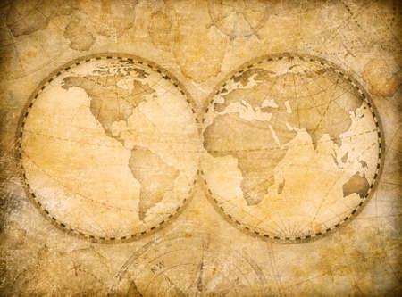 NASA から提供された画像に基づく古い世界地図ヴィンテージ様式
