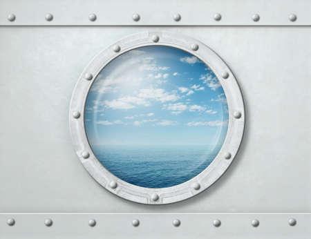 white ship porthole or window with sea and horizon background 3d illustration