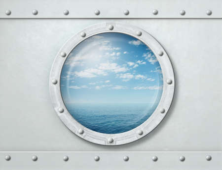 armoring: white ship porthole or window with sea and horizon background 3d illustration