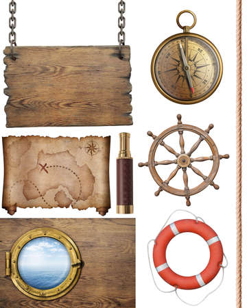 steering wheel: nautical objects such as compass, steering wheel, signboard, porthole, pirates map isolated on white Stock Photo
