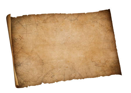 old pirates treasure map isolated on white