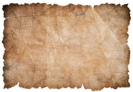 Oude piraten schatkaart op wit wordt geïsoleerd Stockfoto - 57346342