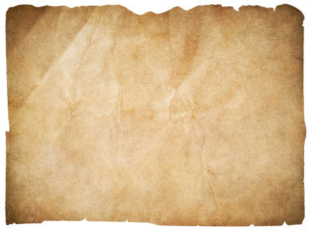 old paper or blank pirates map isolated on white with clipping path included