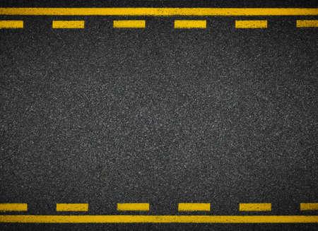 asphalt: Asphalt highway yellow road marks top view Stock Photo