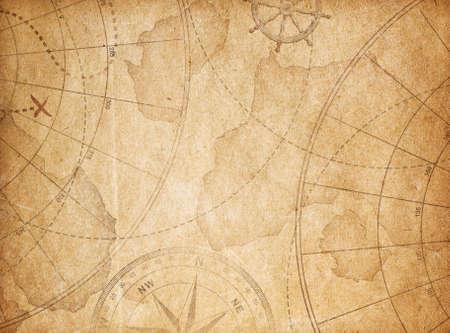 宝地図イラスト背景を高齢者 写真素材