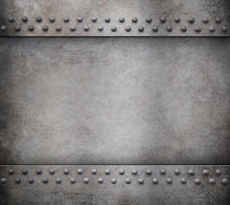 rivets: old metal armour with rivets background 3d illustration