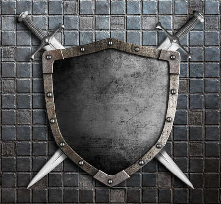armour: medieval shield with crossed swords over armour 3d illustration