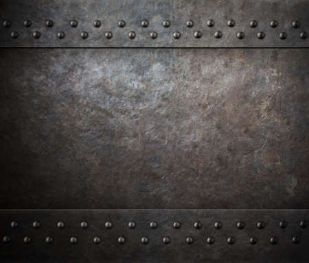 metal sheet: rust metal texture with rivets background Stock Photo