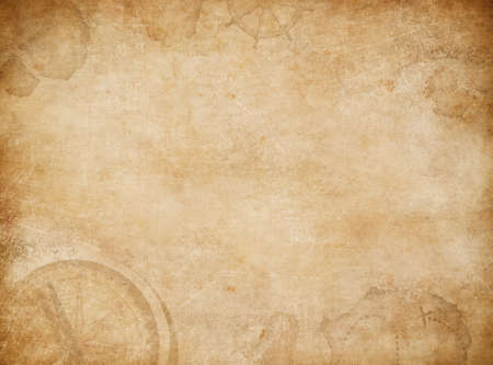 exploration: Aged pirates map background. Old treasure map with compass.