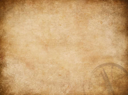 Aged pirates map background. Old treasure map with compass.