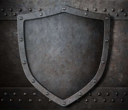 metal shield: old metal shield over armour background 3d illustration Stock Photo
