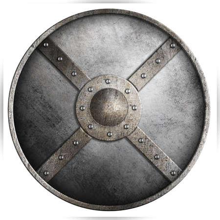 金属装甲白の分離された丸い盾 3 d イラスト 写真素材