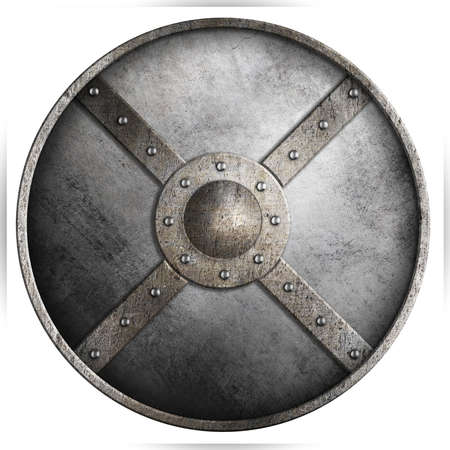 metal armored round shield isolated 3d illustration on white 스톡 콘텐츠