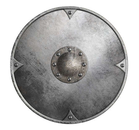 crusader: metal round shield isolated 3d illustration on white