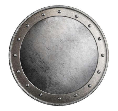 単純な金属の円形シールド白の分離の 3 d 図 写真素材