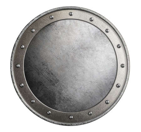 simple metal round shield isolated 3d illustration on white