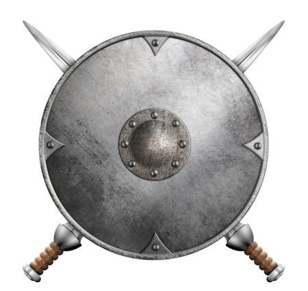 medieval old round metal shield with two swords isolated