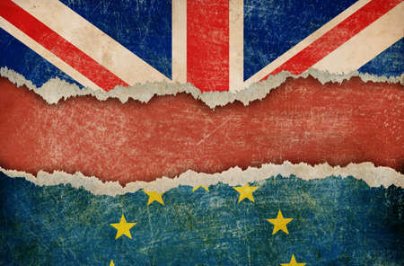 great britain: European union and Great Britain flags on cardboard pieces Stock Photo
