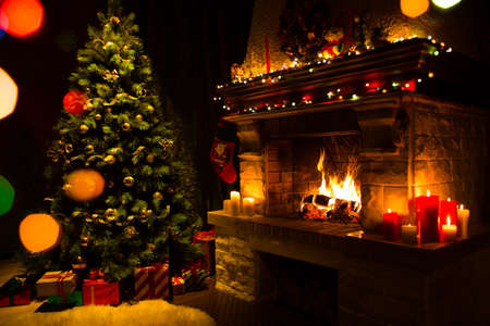 Atmospheric christmas card with xmas tree, presents and fireplace