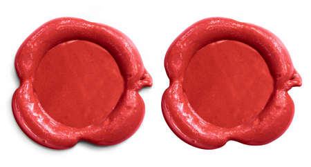 sealing wax: Two wax seals set isolated on white
