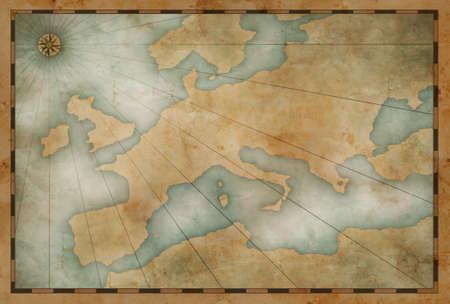 古いヨーロッパ地図海事テーマの背景