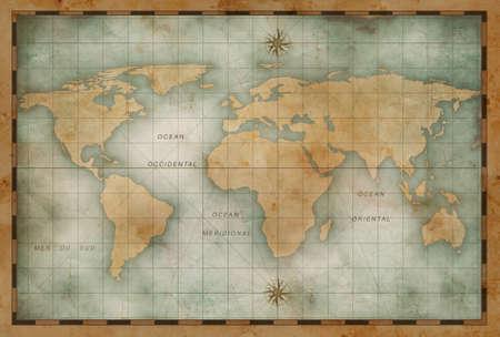 Vecchio mondo della nautica mappa di sfondo Archivio Fotografico - 70058734