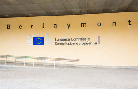 congressional: BRUSSELS, BELGIUM - AUG 9, 2014: Berlaymont building entrance. Berlaymont houses headquarters of European Commission. Editorial