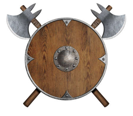 old wooden vikings shield and two crossed axes isolated Stock Photo