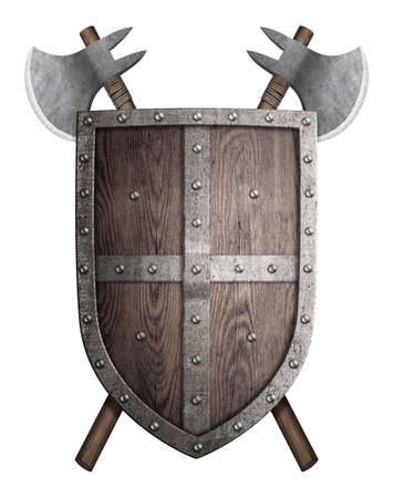 halberd: old wooden shield and two crossed battle axes isolated