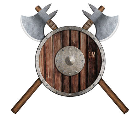 old wooden vikings shield and two crossed axes
