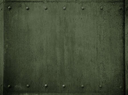 armoring: old military metal green armor background with rivets