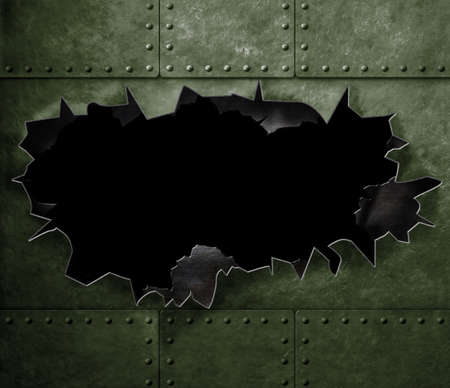 big hole in military green metal armor background Stock Photo