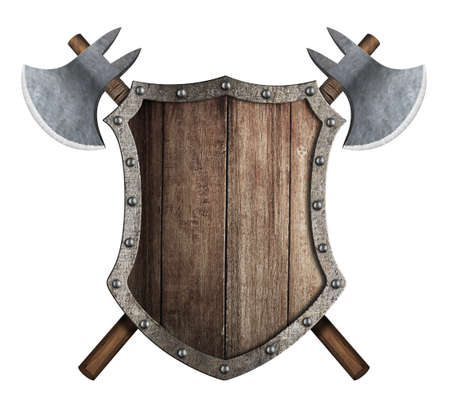 wooden shield and two crossed battle axes Stock Photo