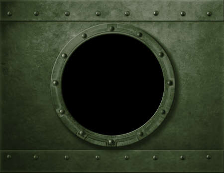 Military green armoured porthole or window metal background