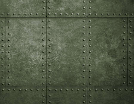 armoring: metal military green background with rivets Stock Photo