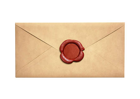 envelope: Old narrow letter envelope with red wax seal isolated