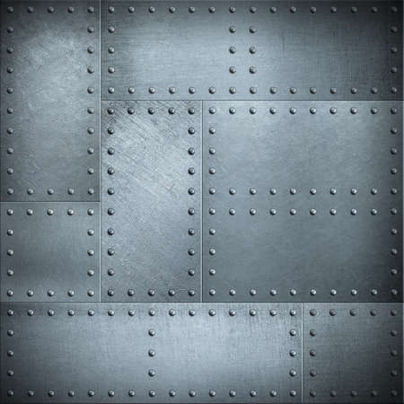 armoring: Metal plates with rivets steel background or texture