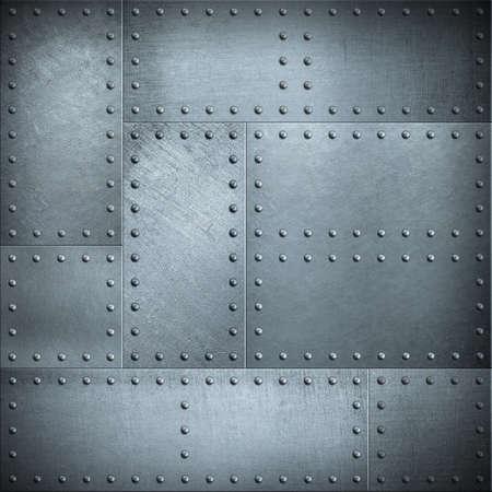 placas de metal con remaches de acero de fondo o la textura Foto de archivo