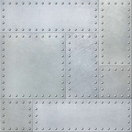 Metal plates with rivets seamless background or texture
