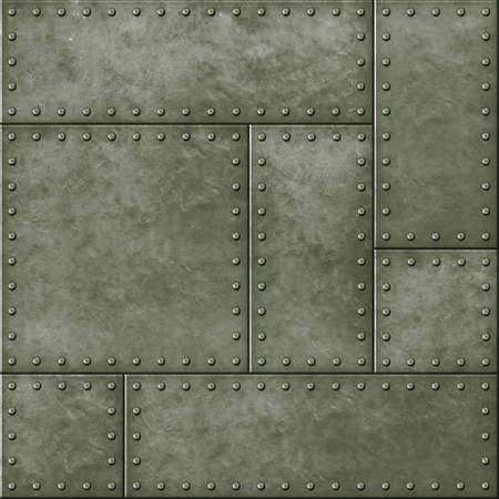 armoring: metal military green seamless background with rivets Stock Photo