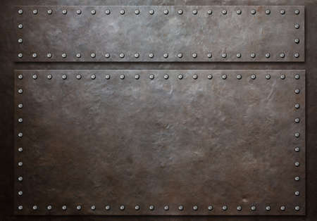 two stained steel plates with rivets over metal background Standard-Bild