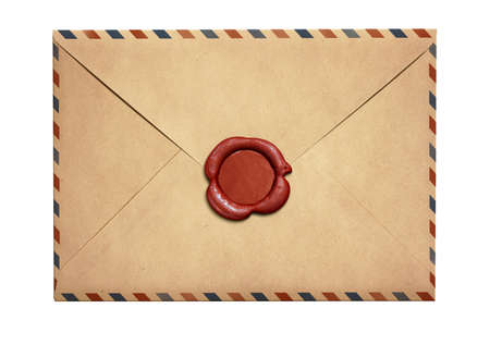vintage document: Old air letter envelope with red wax seal isolated