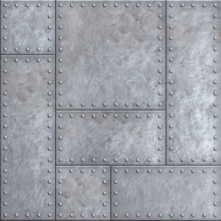 armoring: Old metal plates with rivets seamless background or texture