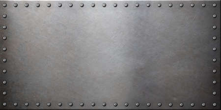 armoring: steel metal plate with rivets Stock Photo