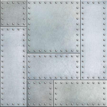 Steel metal plates with rivets seamless background Foto de archivo