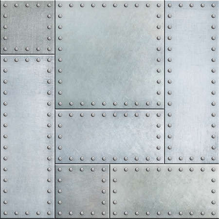 Steel metal plates with rivets seamless background Stockfoto