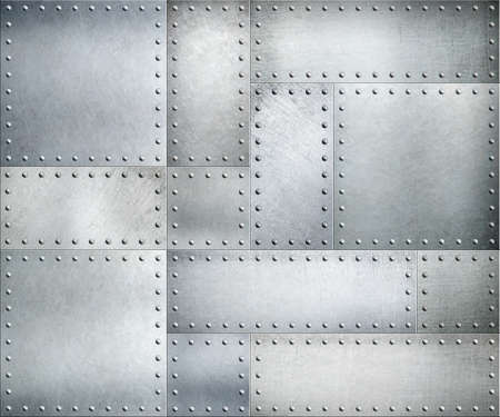 armoring: Metal plates with rivets background or texture