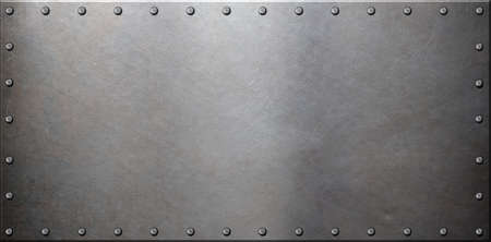 old steel metal plate with rivets Stock Photo