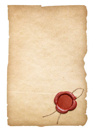 Old parchment letter or paper with wax seal. Clipping path is included.